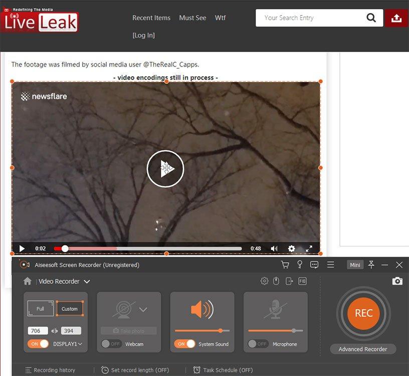 record liveleak video with screen recorder