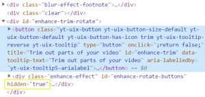 Highlighted Code Inspect Trim Button