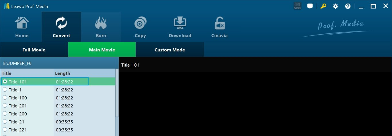 Select a Title from Blu-ray Disc for Ripping