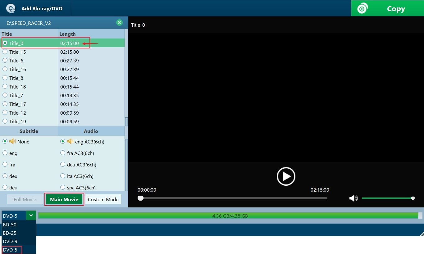 Select Title and Output format for Copying Blu-ray disc