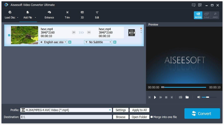 Import H.265 Video
