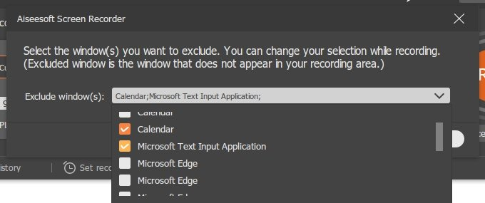Choose Windows to exclude