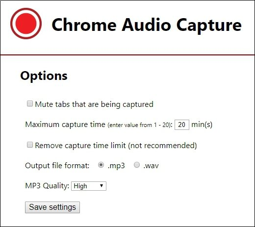 Chrome Audio Capture Options