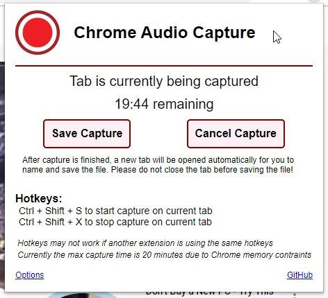 Chrome Audio Capture Recording