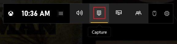 Click Capture Button Xbox Game Bar Overlay Menu