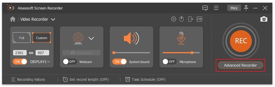 Customize Advanced Recorder