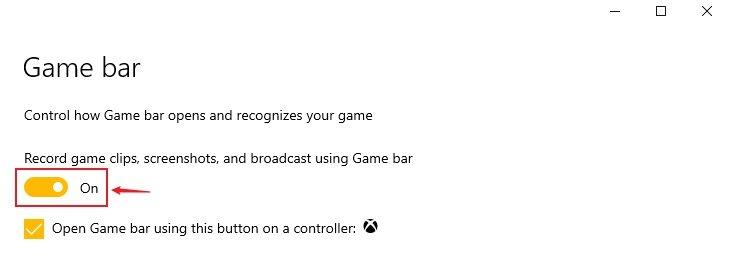 Enable Windows 10 Xbox Game Bar