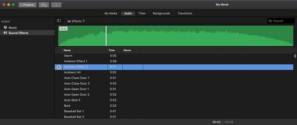 iMovie Audio Sound Effect