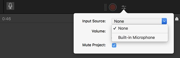 iMovie Record Voiceover Options