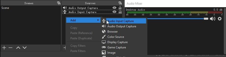OBS Source Add Audio Input