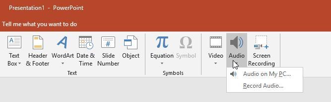 PowerPoint Insert Audio