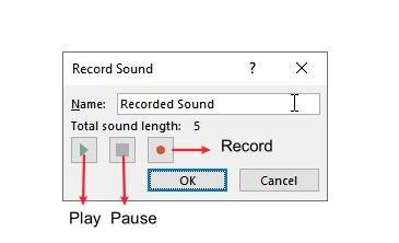 PowePoint Record Audio Panel