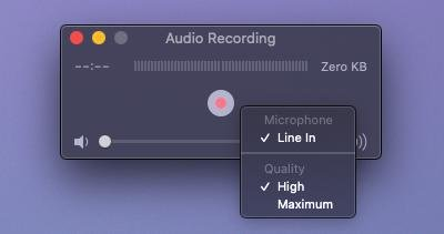 QuickTime Audio Recording Start
