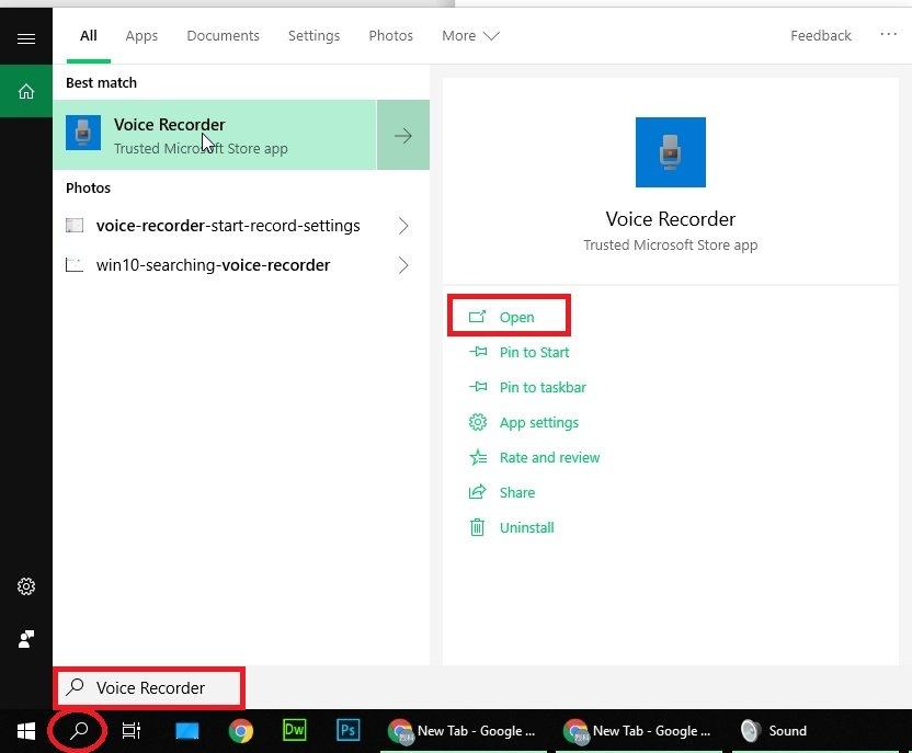 Windows 10 Locate Voice Recorder