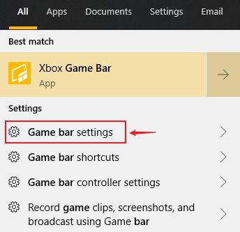 Windows 10 Game Bar Settings