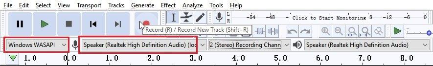 Audacity Start Recording