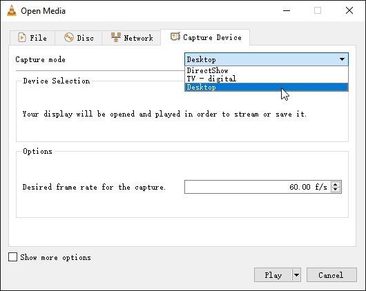 VLC Record Desktop Frame Rate