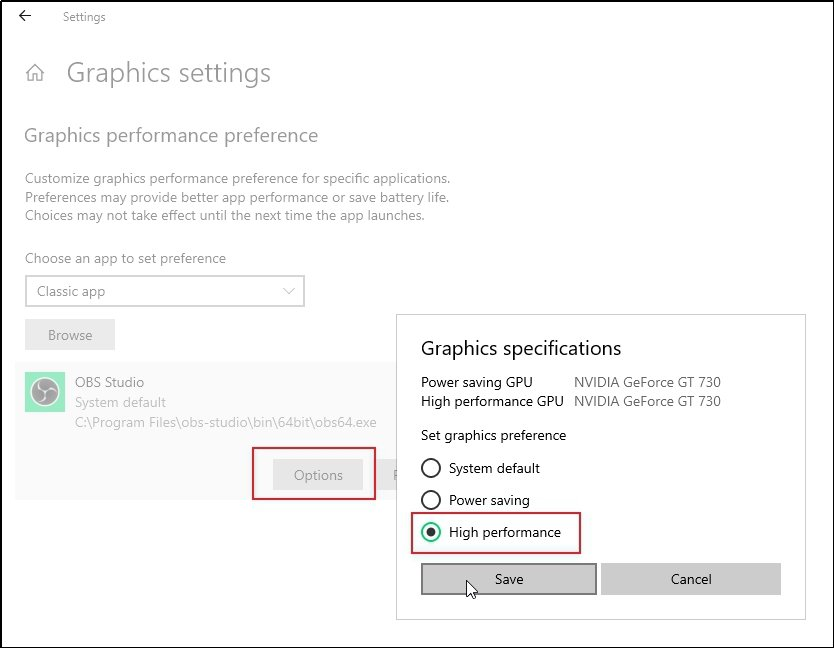 Graphics Settings OBS High Performance