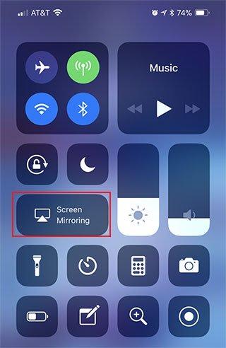 iPhone and iPad Control Center Turn on Screen Mirroring