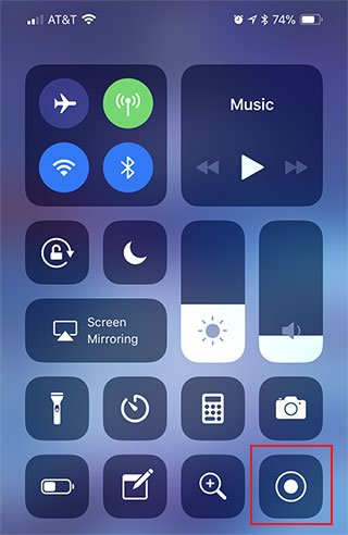 iPhone and iPad Control Center Turn on Screen Recording
