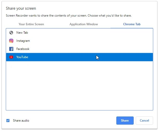 Screen Recorder Share Chrome Tab