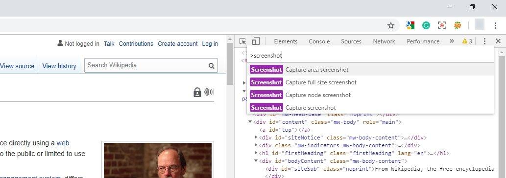Screenshot in Chrome