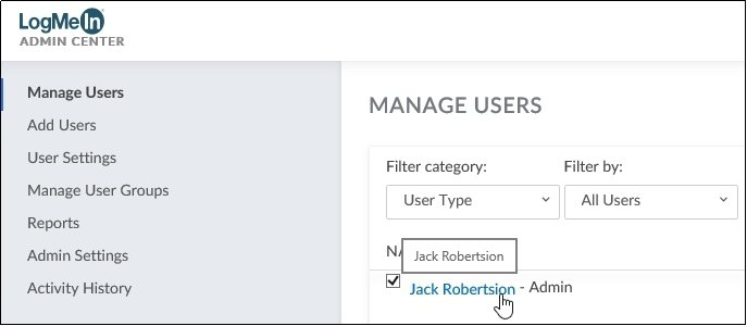 GoToMeeting Admin Center User Name