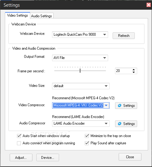 Free2X Webcam Recorder Settings