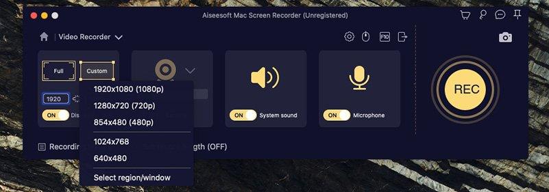 Mac Screen Recorder Decide Recording Area