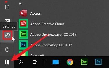 Open Windows 10 Settings