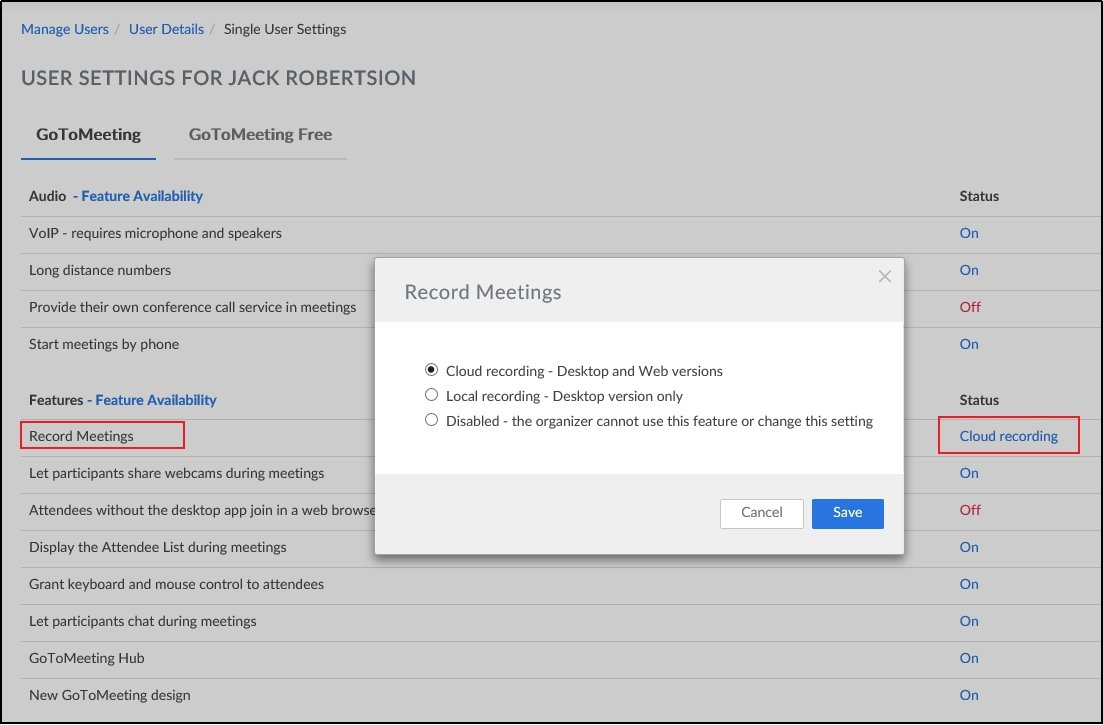 GoToMeeting Cloud and Local Recording