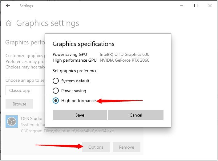 Set OBS Graphics Settings High Performance