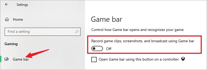 Turn Off Game Bar Recording