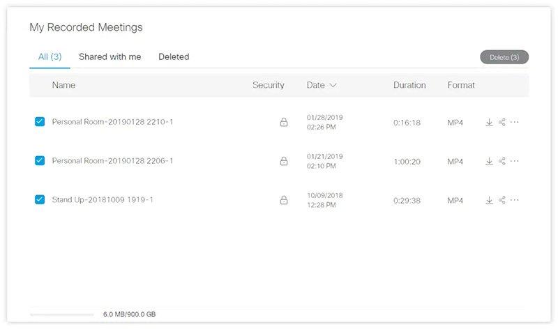 Webex Cloud Recording Locate Files
