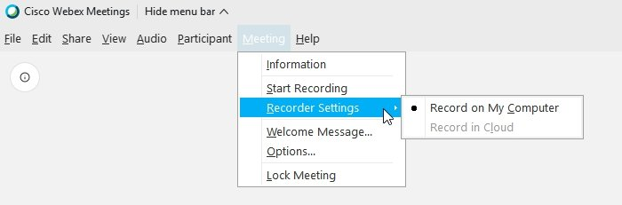 Webex Record on My Compute Record in Cloud