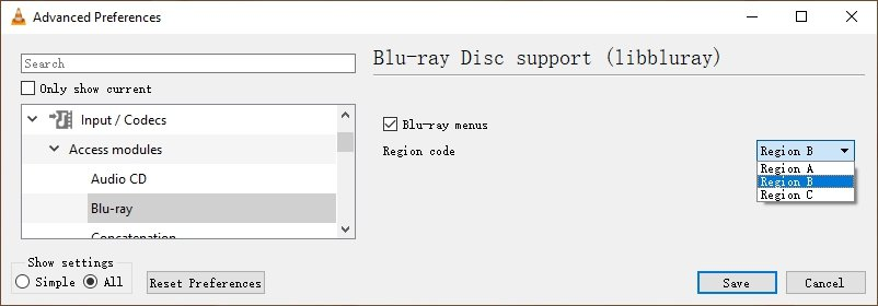 Change Region Code for Blu-ray on VLC