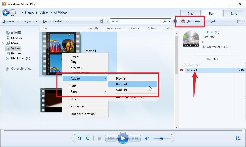 Start to Burn DVD with Windows Media Player