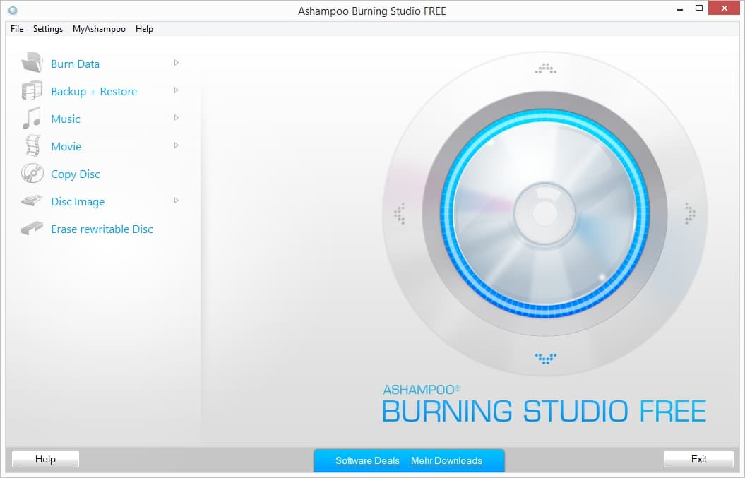 Ashampoo Burning Studio Interface Burn DVD