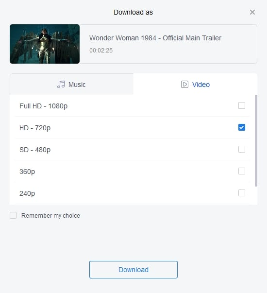 Decide Resolution for YouTube Video