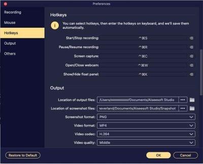 mac screen recorder hotkeys setting
