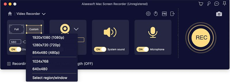 select record region in mac screen recorder