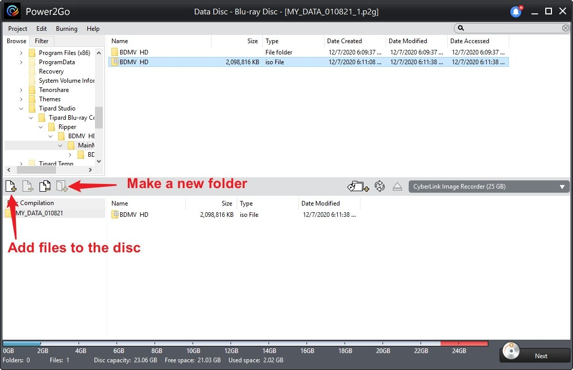 Add Files to Power2Go