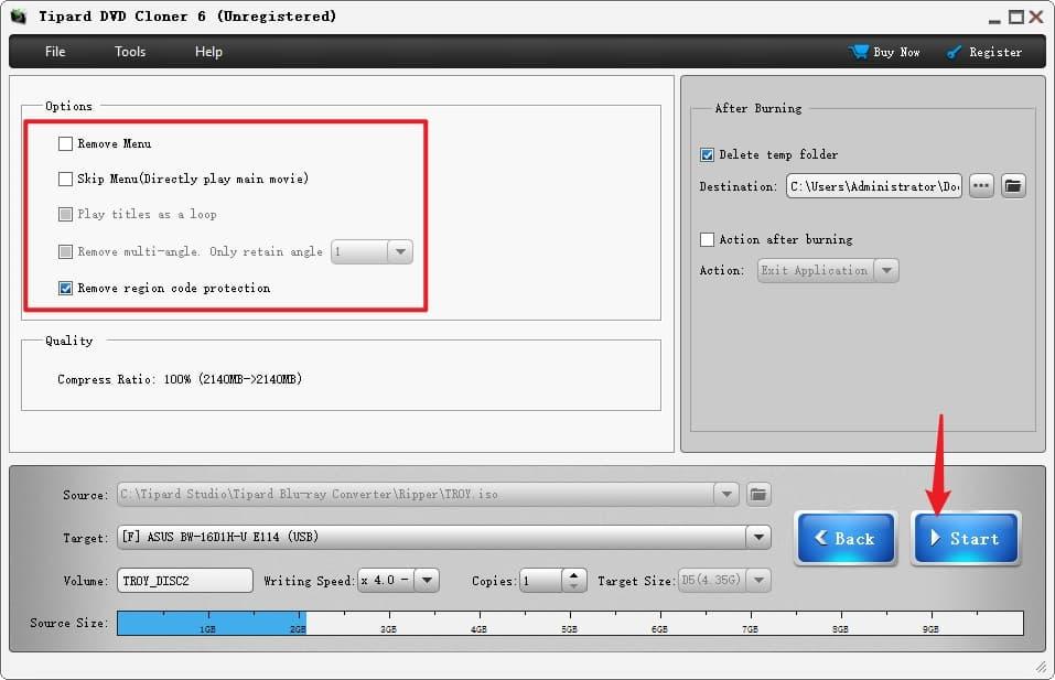 Start to Burn Video TS Folder to DVD