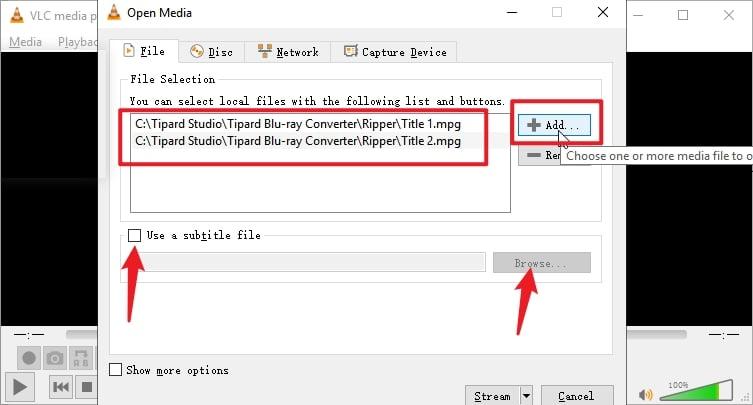 VLC Burn DVD Add Files