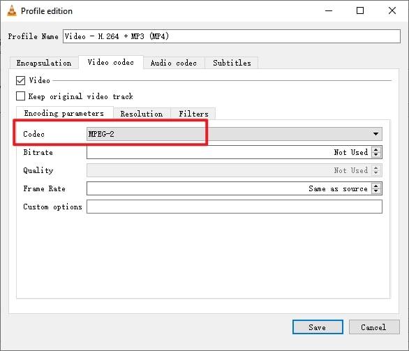 VLC Burn DVD Set MPEG2 for Video Codec