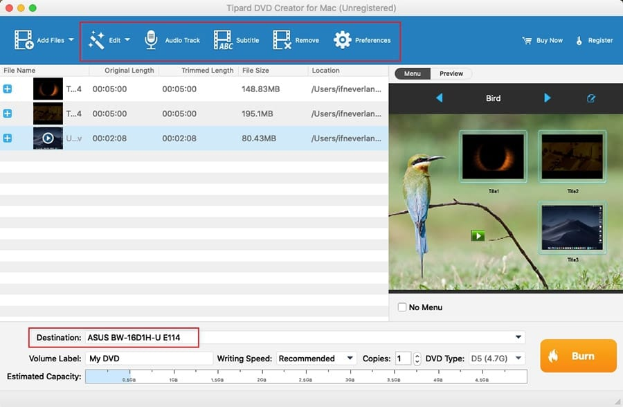 Burn DVD on Mac with QuickTime Files Setup