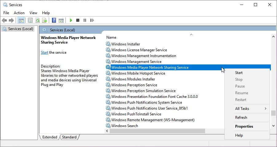 Disable Windows Media Player Network Sharing Services