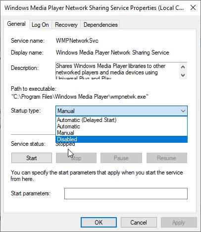 Disable Windows Media Player Network Sharing Services Setup