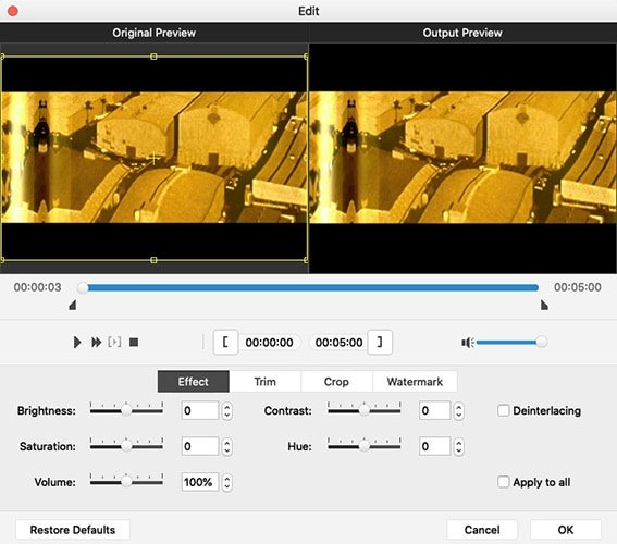 Adjust QuickTime Movie Files Effects for DVD on Mac
