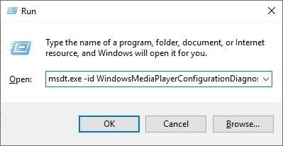 Type in Codes on Run Box Open Windows Media Player Troubleshoot